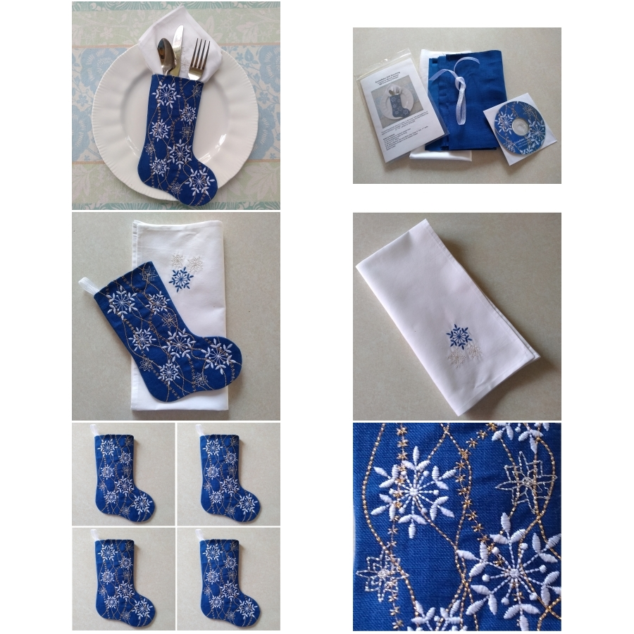 Snowflake Gift Stocking Complete Project Kit, CD & Instructions