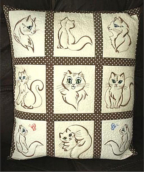 Trapunto Kitty Quilt Blocks -3