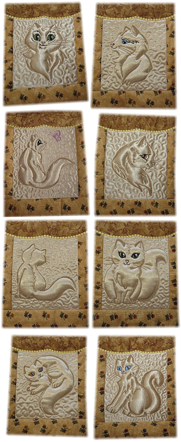 Trapunto Kitty Quilt Blocks -7
