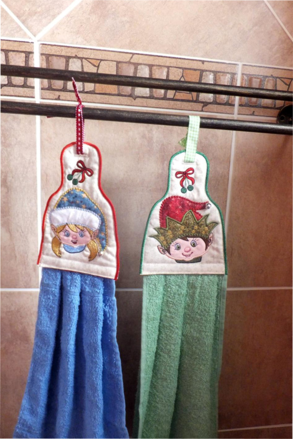 ITH Elf Boy & Girl Towel Topper
