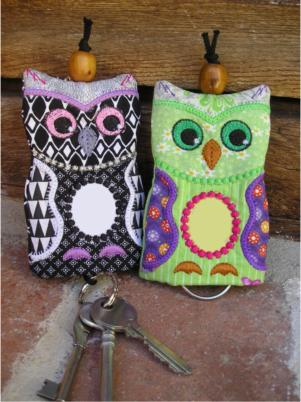 ITH No Initial Owl Key Ring Pouch