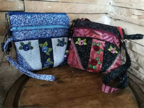 ITH Double Zipper Compartment Rose Purse -3