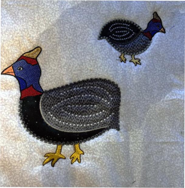 Applique Guinea Fowl Family