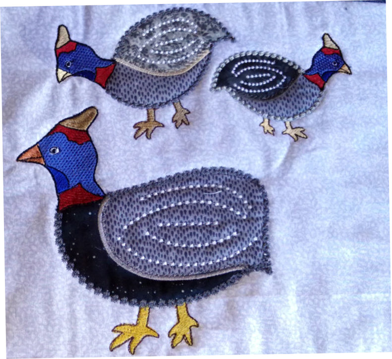 Applique Guinea Fowl Family -7