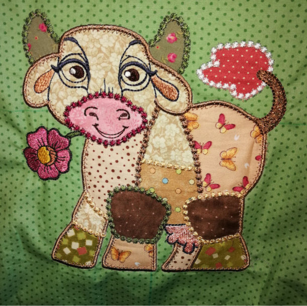 Colorful Cow Applique