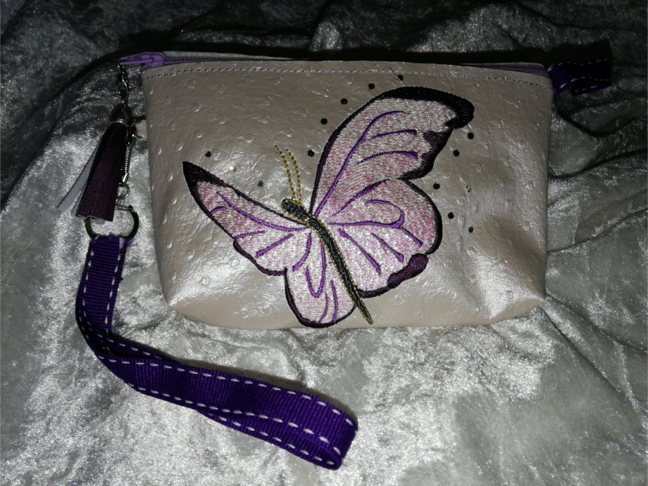 Top Zippered Vinyl Purse  with Butterfly-3