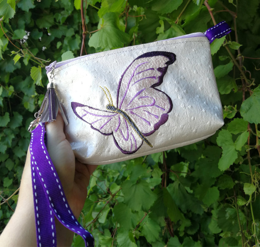 Top Zippered Vinyl Purse  with Butterfly-5