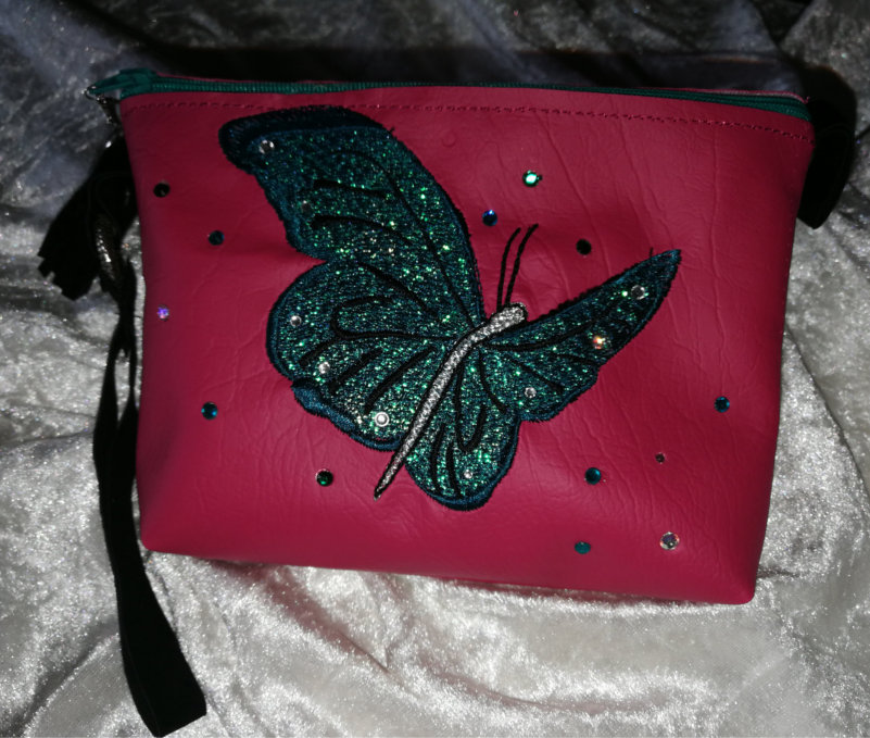 Top Zippered Vinyl Purse  with Butterfly-6