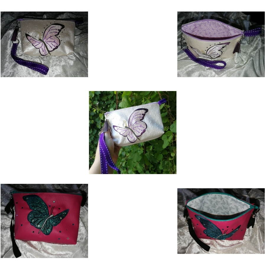 Top Zippered Vinyl Purse  with Butterfly