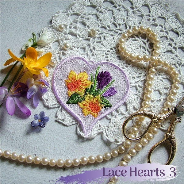 lace heart free-standing FSL rose flower floral