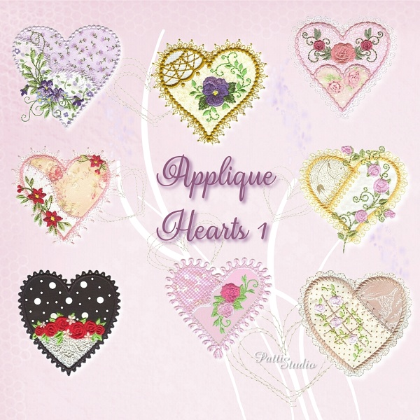 Applique Hearts 1 -3
