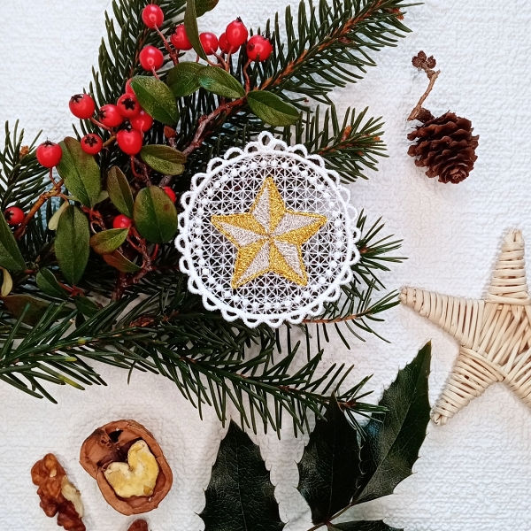 free-standing FSL lace christmas xmas holiday star ornament silver gold
