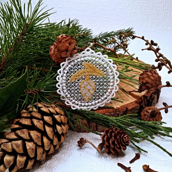 free-standing FSL lace christmas xmas holiday pine spruce cone branch silver gold