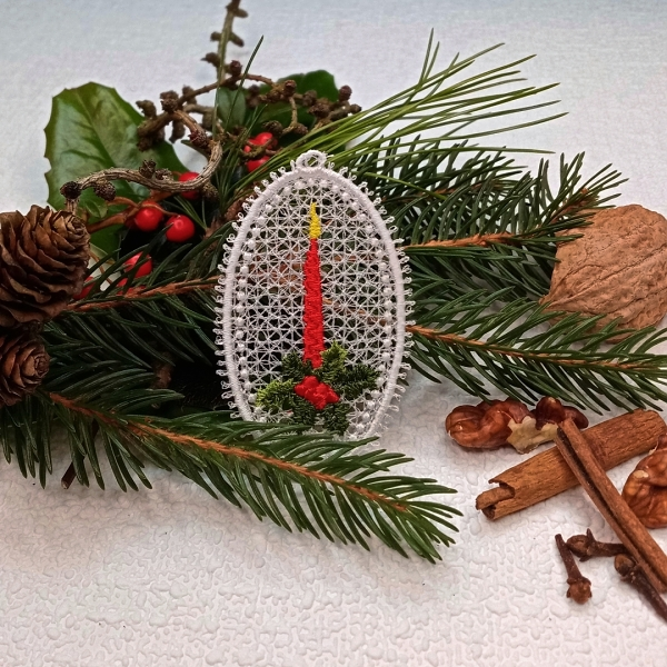 free-standing FSL lace christmas xmas holiday tag ball bauble star holly tree snowman stocking candle glove jingle bells