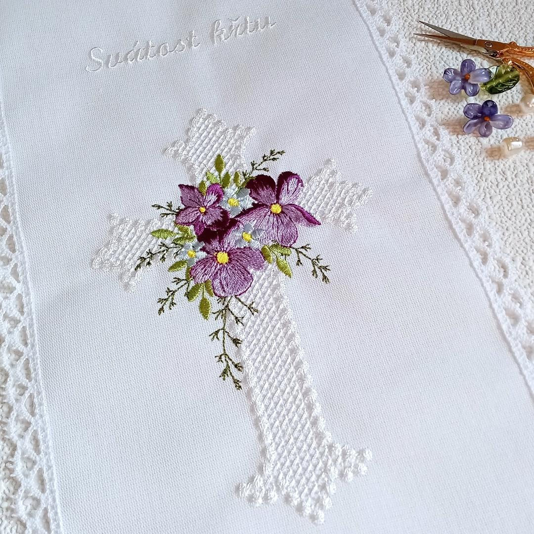 cross religion church christening flower floral violet golden silver ornament decoration