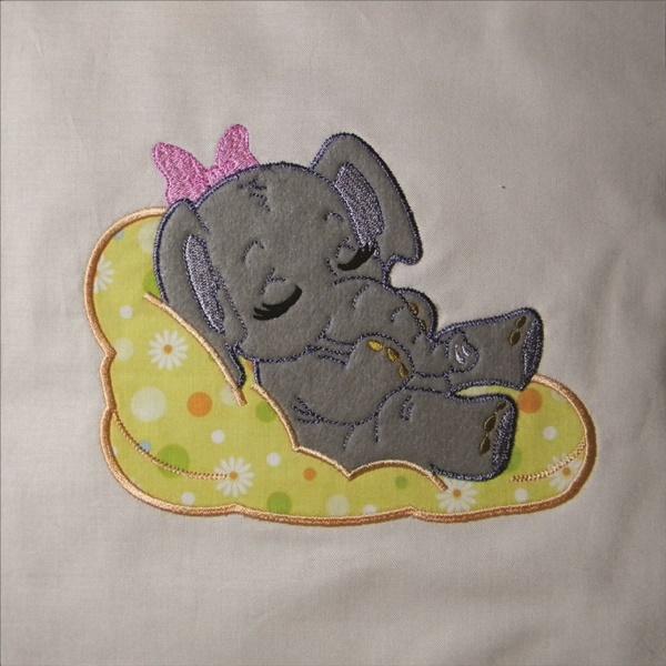 Adorable Sleeping Elephant 1 - Applique-3