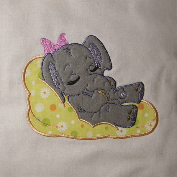 Adorable Sleeping Elephant 1 - Applique-5