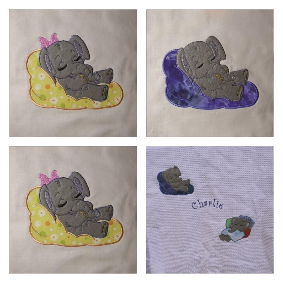 Adorable Sleeping Elephant 1 - Applique