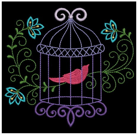 Colorful Birdcages Silhouette-6