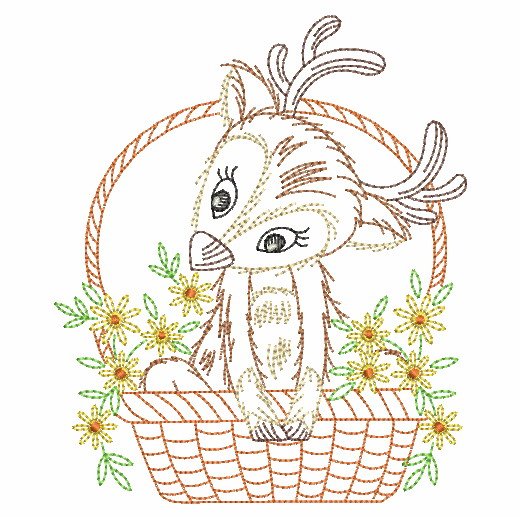 Vintage Basket Of Critters