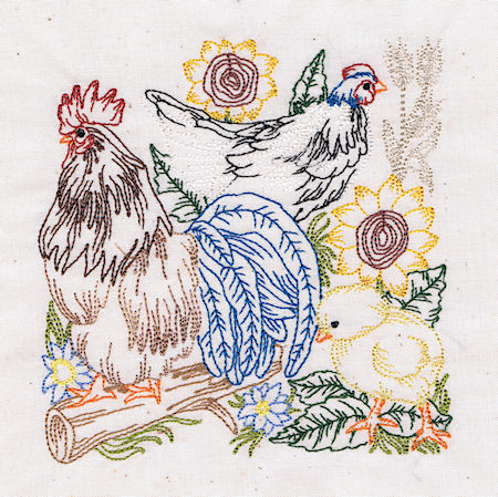 Country Living - Rooster & Hens Blocks