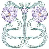 Rippled Art Nouveau Flowers