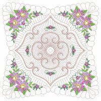 Trapunto Floral Quilt Block