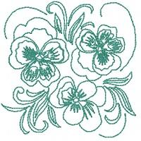 Pansy Redwork Squares