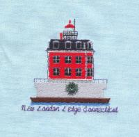 Red Christmas Lighthouse Quilt Blocks