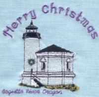 White Christmas Light House Quilt Blocks