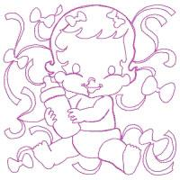 Pink Baby Girl Lineart