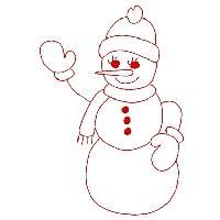 Redwork Snowmen