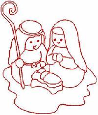 Redwork Nativity