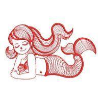 Redwork Little Mermaids 2