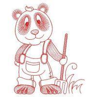 Redwork Cute Panda