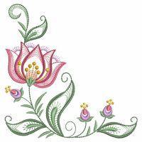 Rippled Jacobean Flower Corners