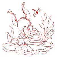 Redwork Cute Frog 2