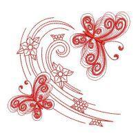 Redwork Butterfly In Flight