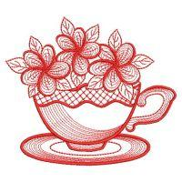 Redwork Teacup In Bloom