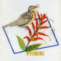 Wyoming Western Meadowlark Bird And Flower