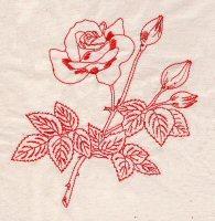 Redwork Roses 02