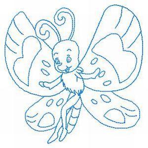 Cute Butterfly Redwork