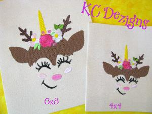 Reindeer Face With Flowers 1