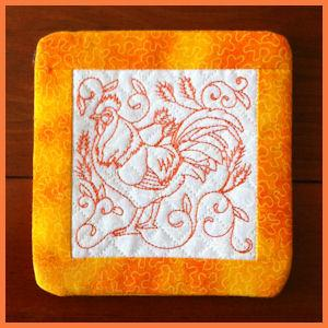 In the hoop Rooster Coasters
