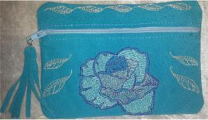 Leather Rose Zipper Pouch