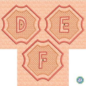 Splendid Embossed Monogram D E F