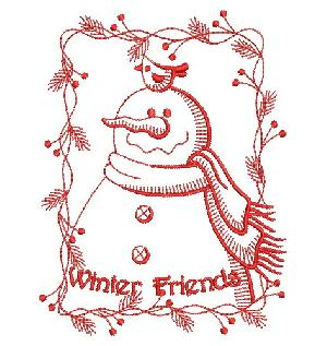 Redwork Holiday Snowmen
