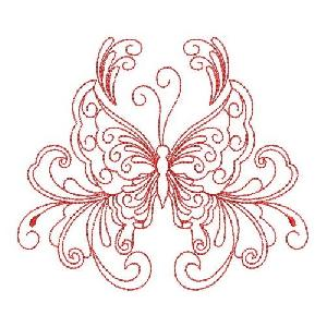 Redwork Heirloom Butterfly 3
