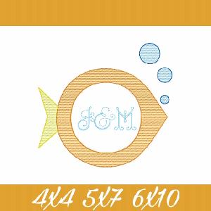 Simple Fish Monogram Frame Sketch Fill Embroidery Design