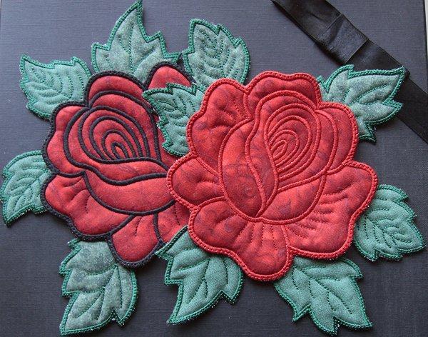 5x7 Applique Rose Mug Rugs